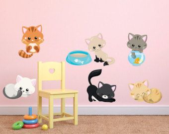 Etonnant Kittens Reusable Decal Set, Kids Fabric Wall Decals, Cats Wall Decal,  Removable,