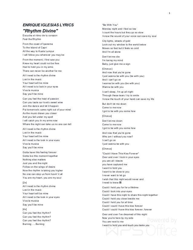 Lyric ipanema lyrics : 1 ENRIQUE IGLESIAS LYRICS