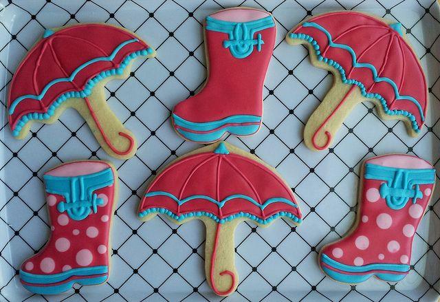 Umbrella and Rain Boot Cookies by Rococo Sugar, via Flickr