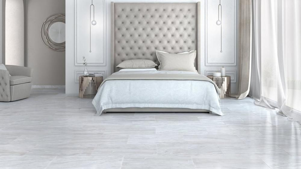 Nessus White Polished Marble Tile Tile Bedroom Marble Bedroom