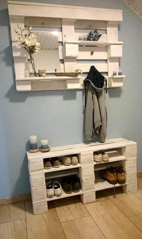 Schuhregal Garderobe aus Paletten - Flur schuhregal Pinterest - flur idee