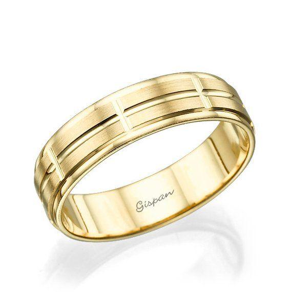 Unique Wedding Band Wedding Ring Mens Wedding Band Gold Wedding