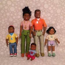 RARE Fisher Price LOVING FAMILY Black Doll Set-Mom Dad Daughter Son Baby VHTF