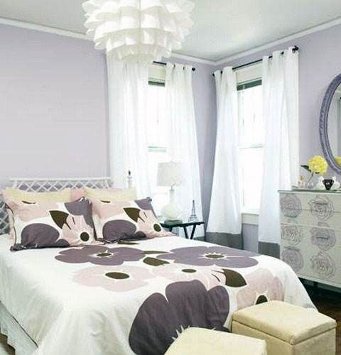 Beautiful Purple Bedroom Ideas And Modern White Chandeliers