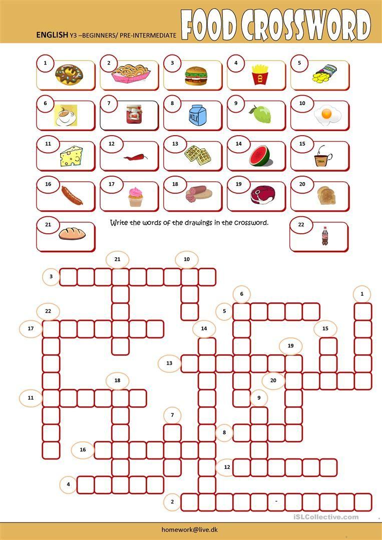 Food Crossword worksheet - Free ESL printable worksheets made by ...
