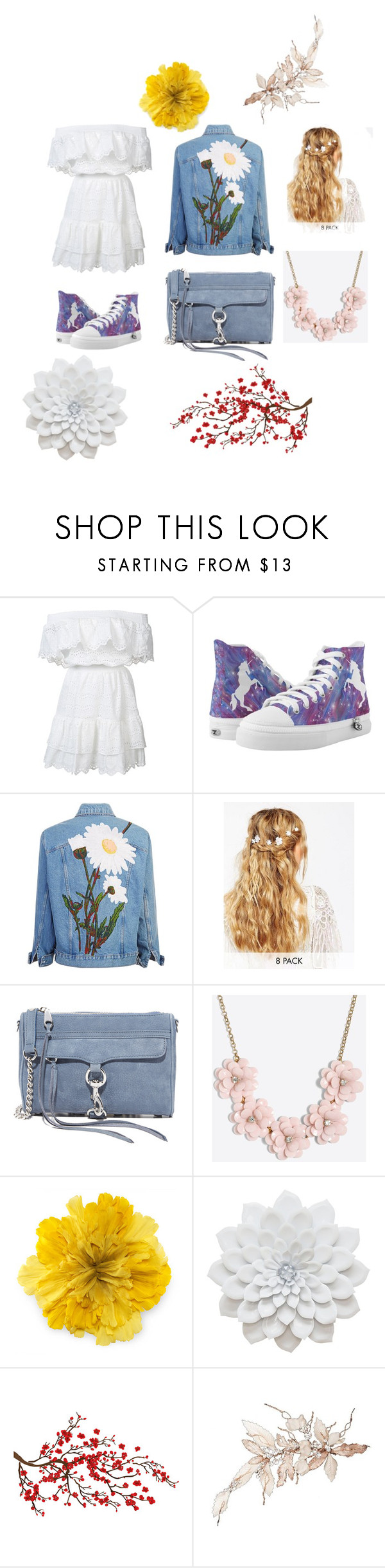 """""""flower power"""" by sarinadu ❤ liked on Polyvore featuring LoveShackFancy, ASOS, Rebecca Minkoff, J.Crew, Gucci and Brewster Home Fashions"""