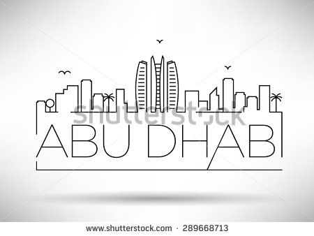 Abu Dhabi City Line Silhouette Typographic Design Stock Vector City Drawing Sketch Book