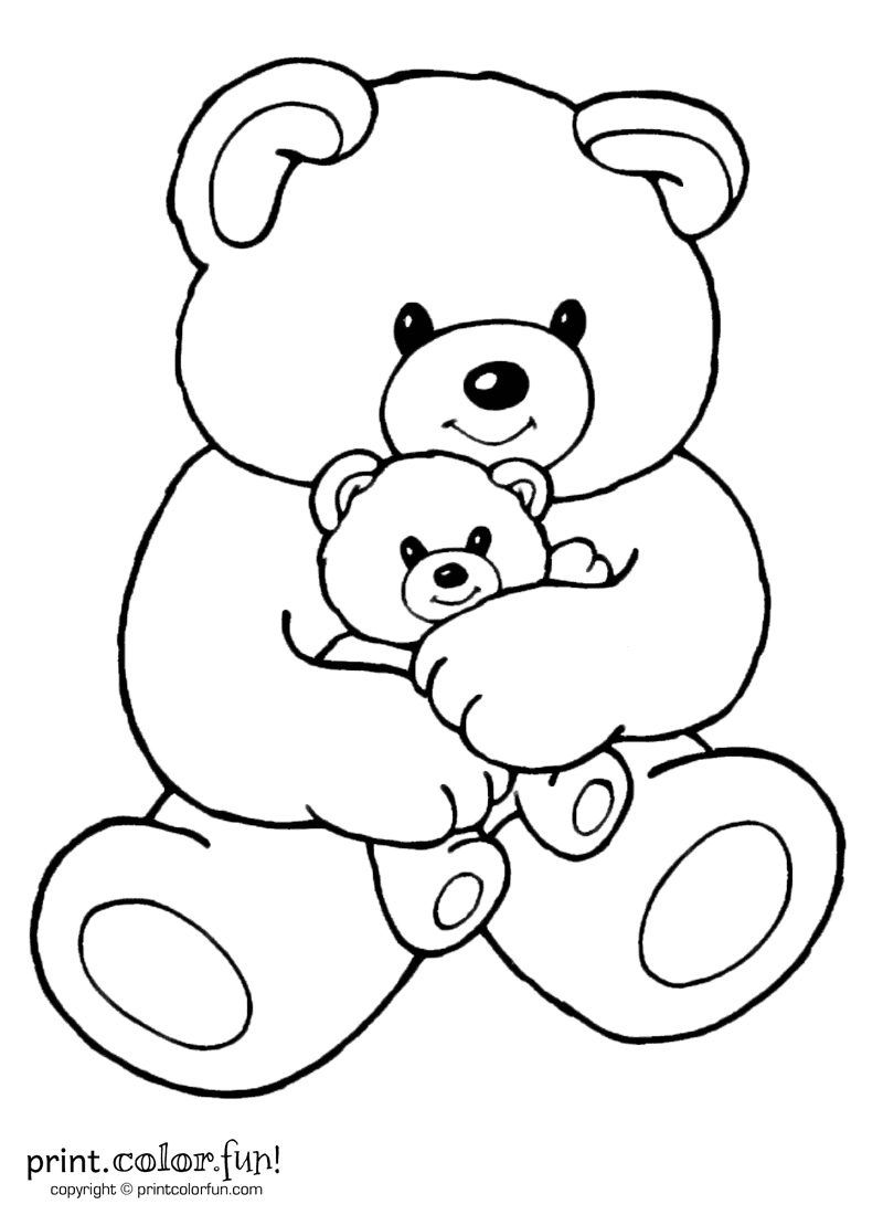 Mom and baby bear Print Color