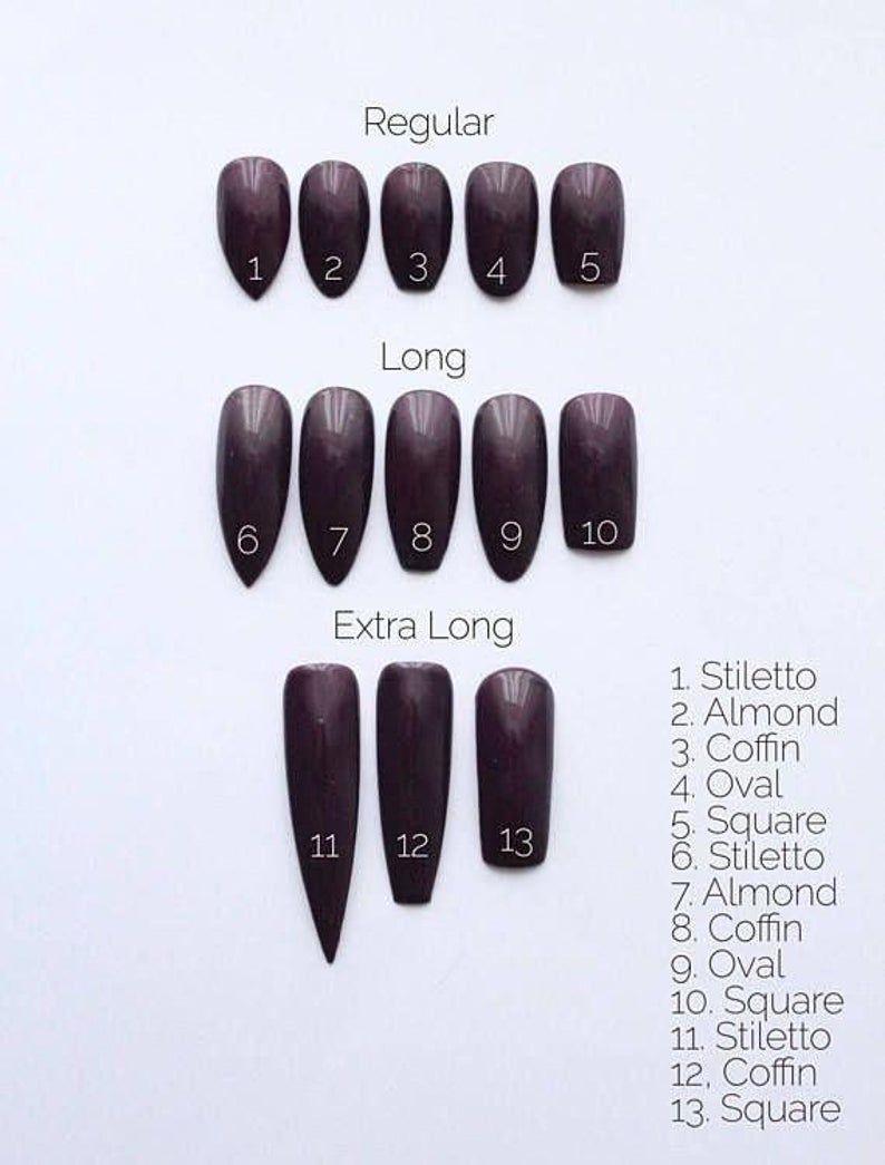 Custom Press On Acrylic Nails Set Of 10 Any Size Shape Etsy In 2020 Acrylic Nail Set Almond Acrylic Nails Acrylic Nail Shapes
