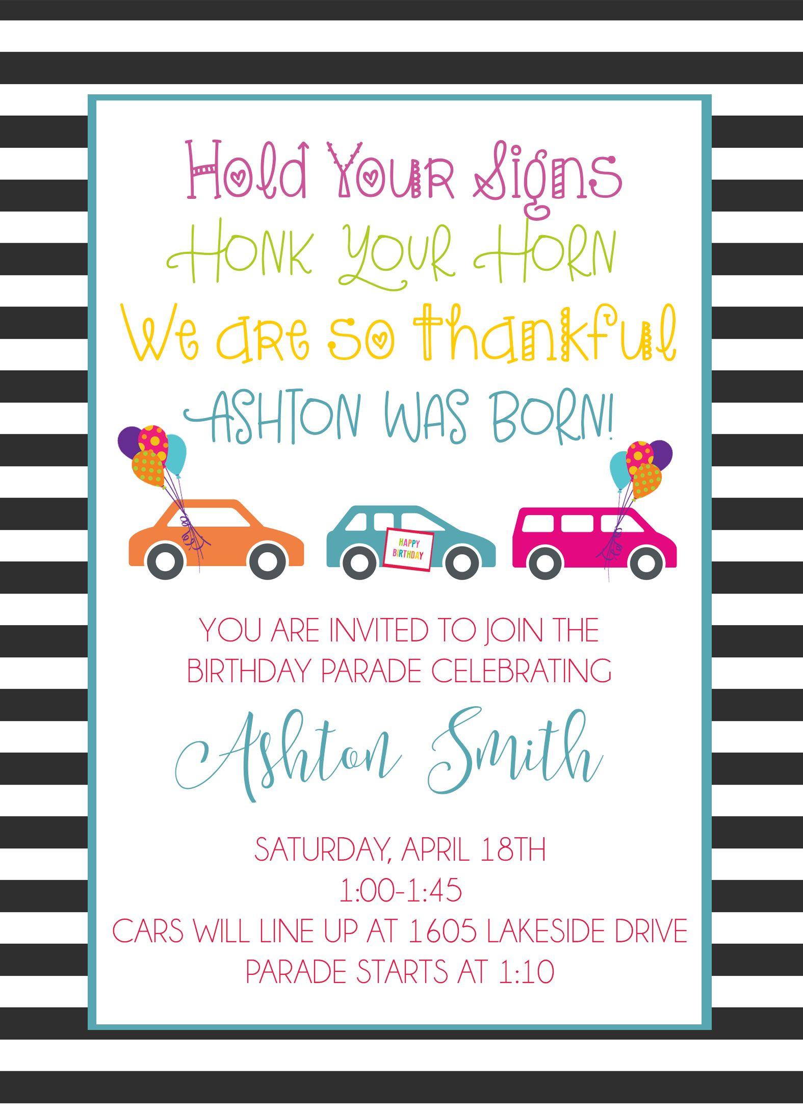 birthday parade invitation car parade