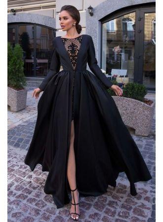 designer abendkleider lang schwarz  abiballkleider mit Ärmel modellnummer dd0575  black