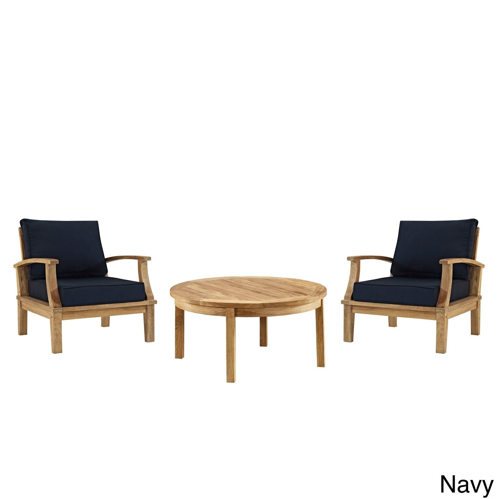 Modway pier 3 piece outdoor patio teak sofa set navy blue patio furniture