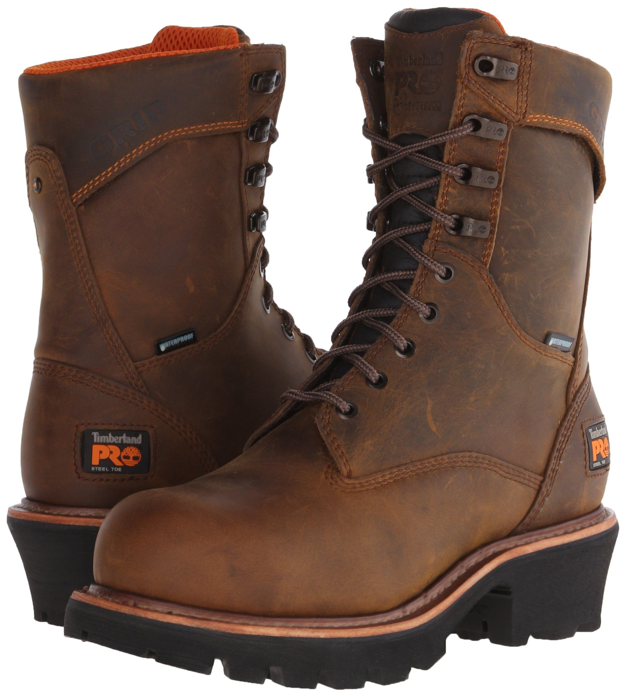 dd681b3fe24d Timberland PRO Mens 9 Inch Rip Saw Logger Steel Toe Waterproof Work and  Hunt Boot Brown Distressed Leather 10 W US    Details can be found by  clicking on ...