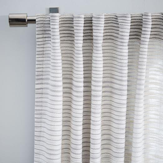Textured Stripe Curtain West Elm Curtains Living Room