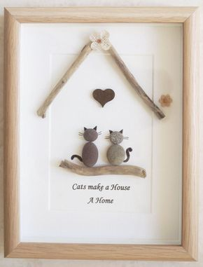 Photo of Pebble Art framed Picture- Cats make a House a Home