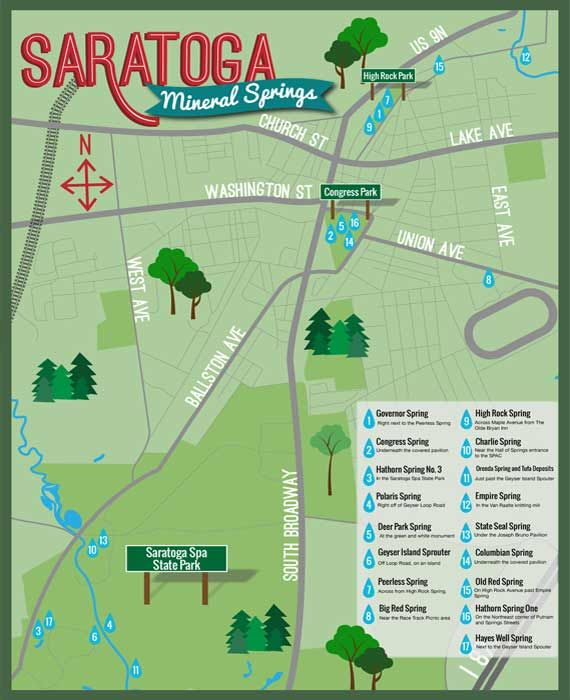Saratoga New York Map.Mineral Spring Map Saratoga Springs Ny Places Pinterest