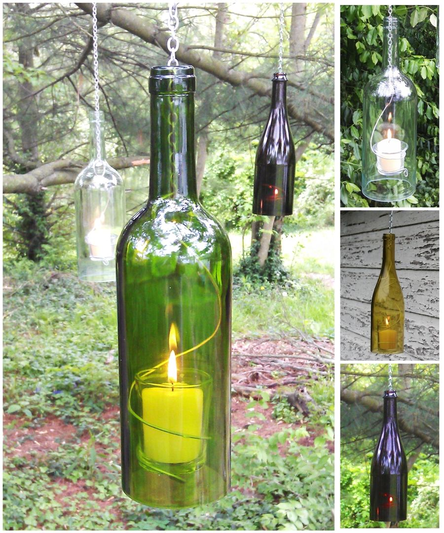 Wine bottle crafts outdoor - Use Empty La Crema Bottles To Make Hanging Candle Holders Beautiful