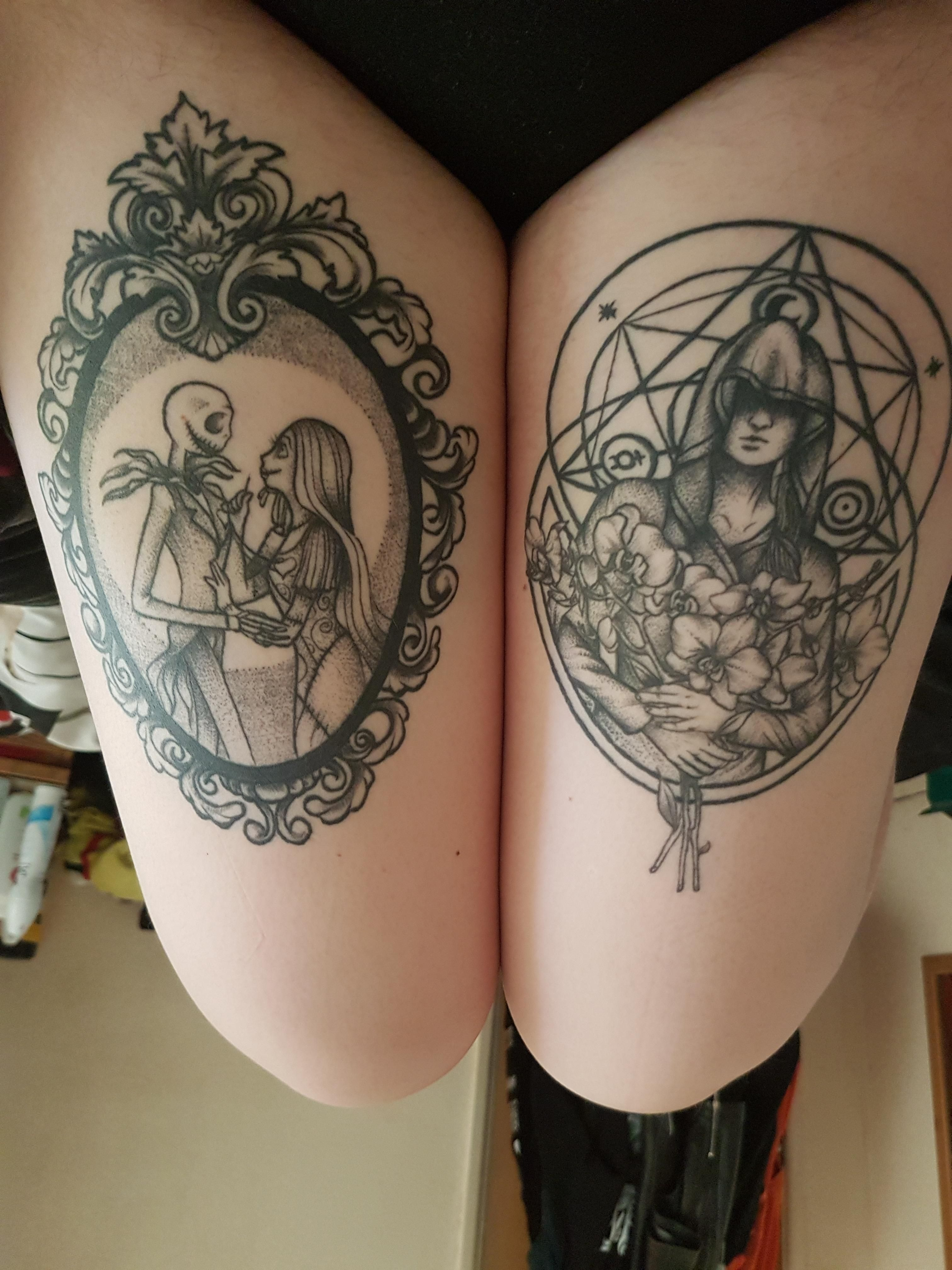 906ab7a84 My two thigh tattoos. Both done by Ash at The Crow Quill Tattoo Studio in  Southampton UK.