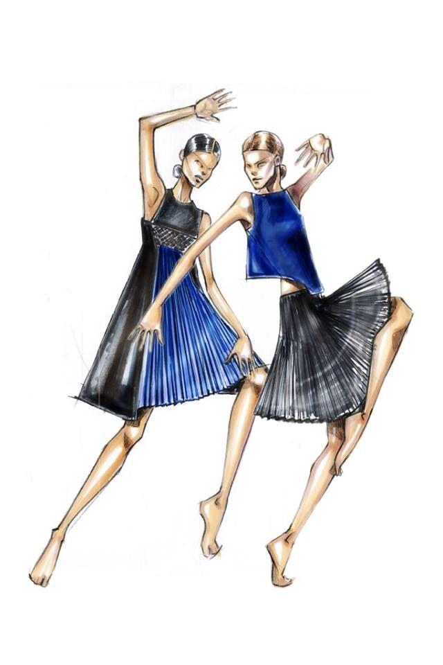 Royal Blue & Black Dress Sketch