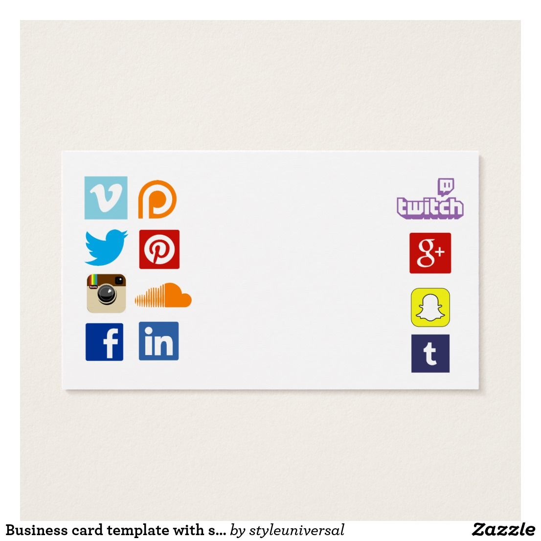 Business card template with social media icons 3 | Social media ...