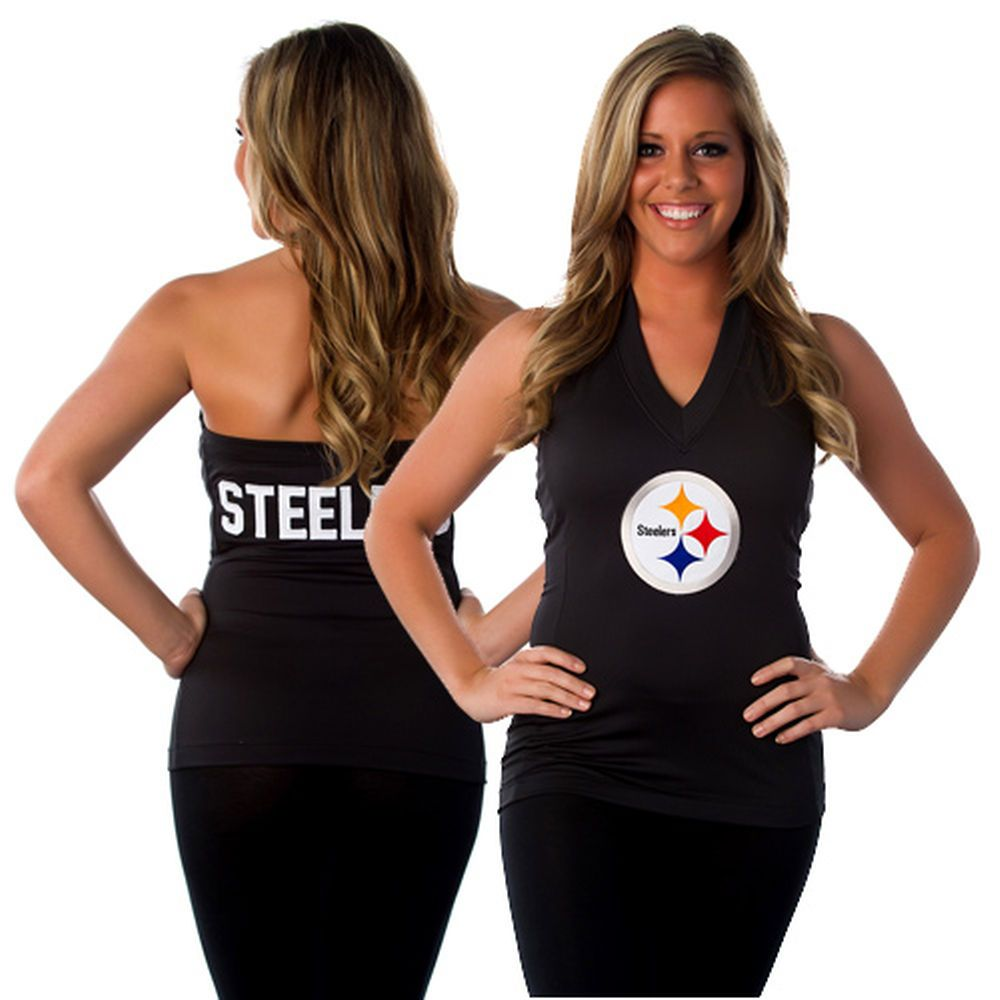 4ba46977 All Sport Couture Pittsburgh Steelers Women's Blown Cover Halter Top ...