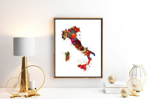 Italy  Watercolor Map 1  Art Print  Poster Wall Art by ZuzisStudio