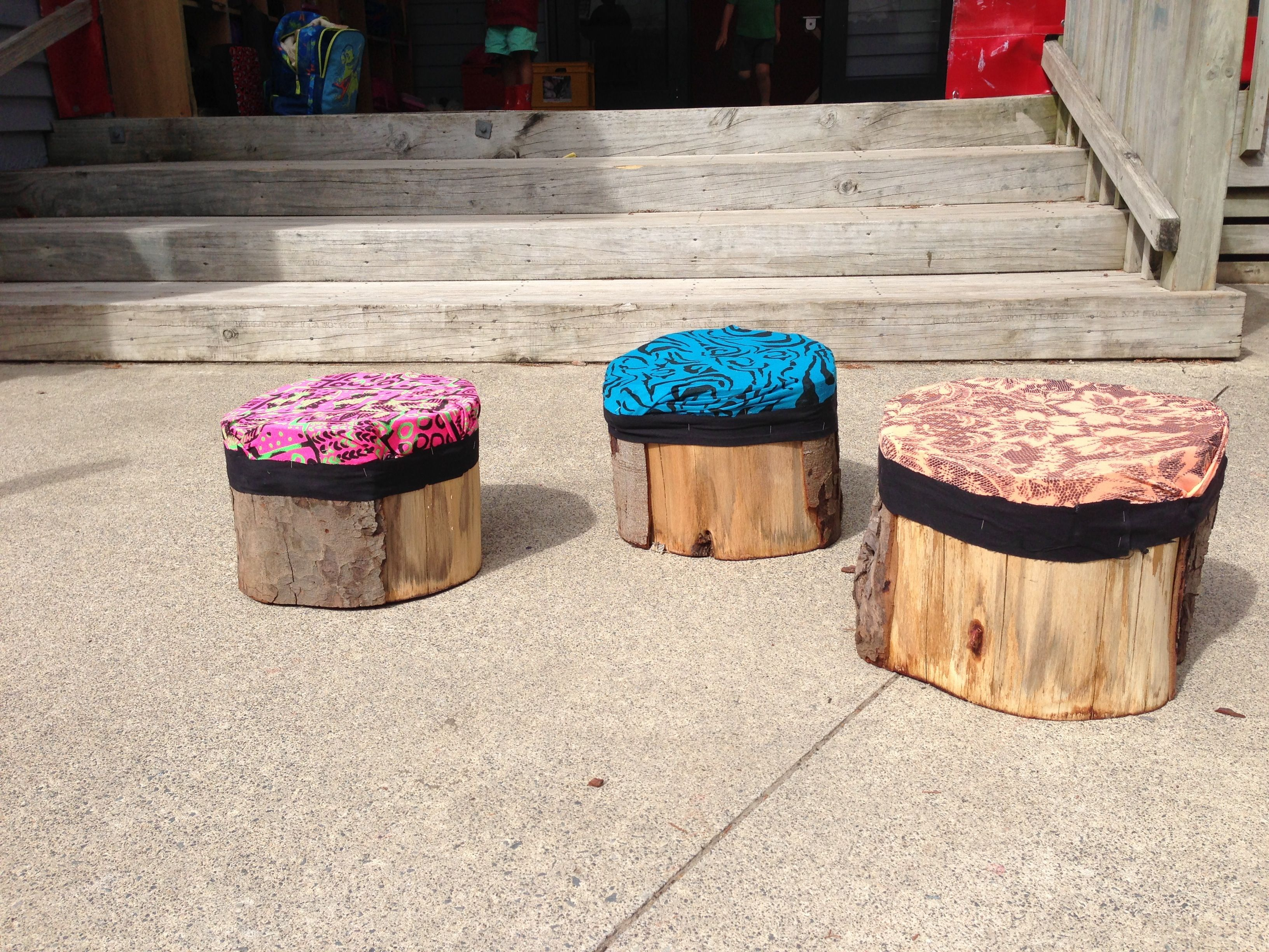 DIY preschool tree stump seats with fabric
