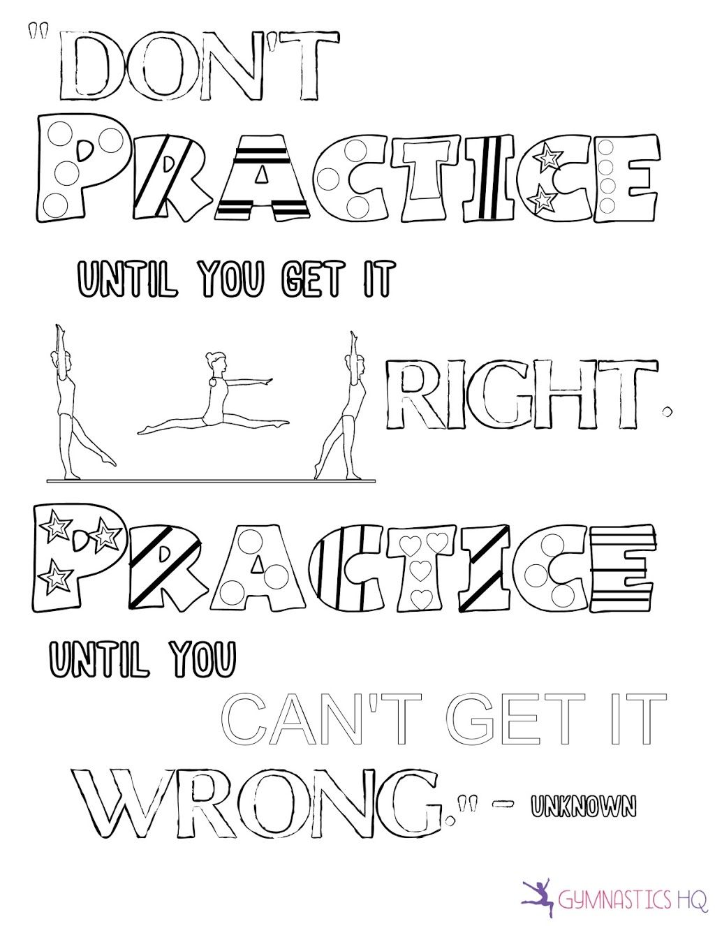 Motivational quote gymnastics coloring page