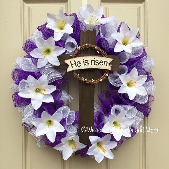 Photo of Easter Cross Wreath, Easter Wreath, Lily Easter Wreath, Purple and White Easter Wreath, He is Risen Wreath