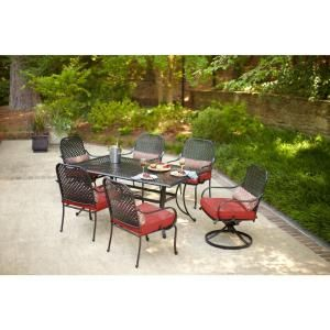 Hampton Bay Fall River 7 Piece Patio Dining Set With Dragon Fruit Cushion Dy11034 7pc R The Home Depot