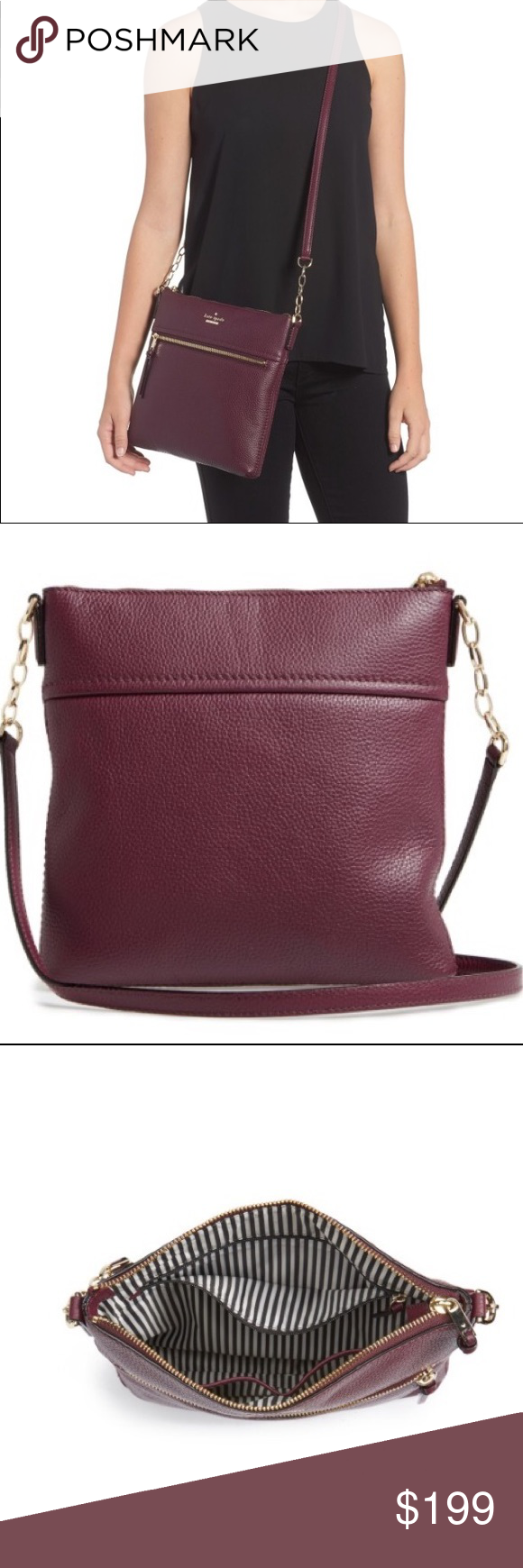 4b4d2ceacb Kate Spade Burgundy Leather Crossbody Bag NWT This bag is so on trend