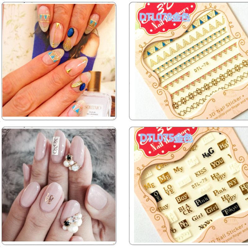 Beauty 1 Pieces Colorful Star Words Designs 3d Nail Art Stickers For