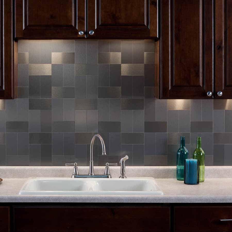 Peel And Stick Decorative Wall Tile Trim Aspect Backsplash3X6 Brushed Stainless Long Grain Metal Tile