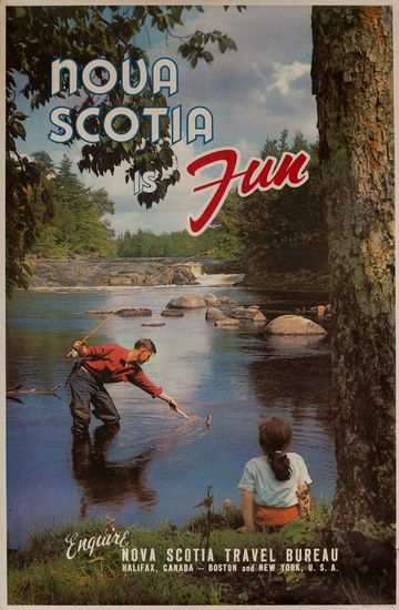 DP Vintage Posters - Nova Scotia is Fun, Original Canadian Travel Poster, Flyfishing