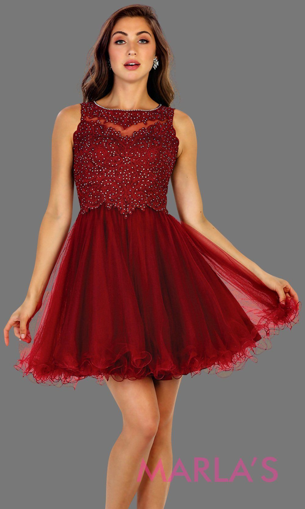 65f870011bb Short high neck puffy burgundy dress with lace top. Perfect for grade 8 grad