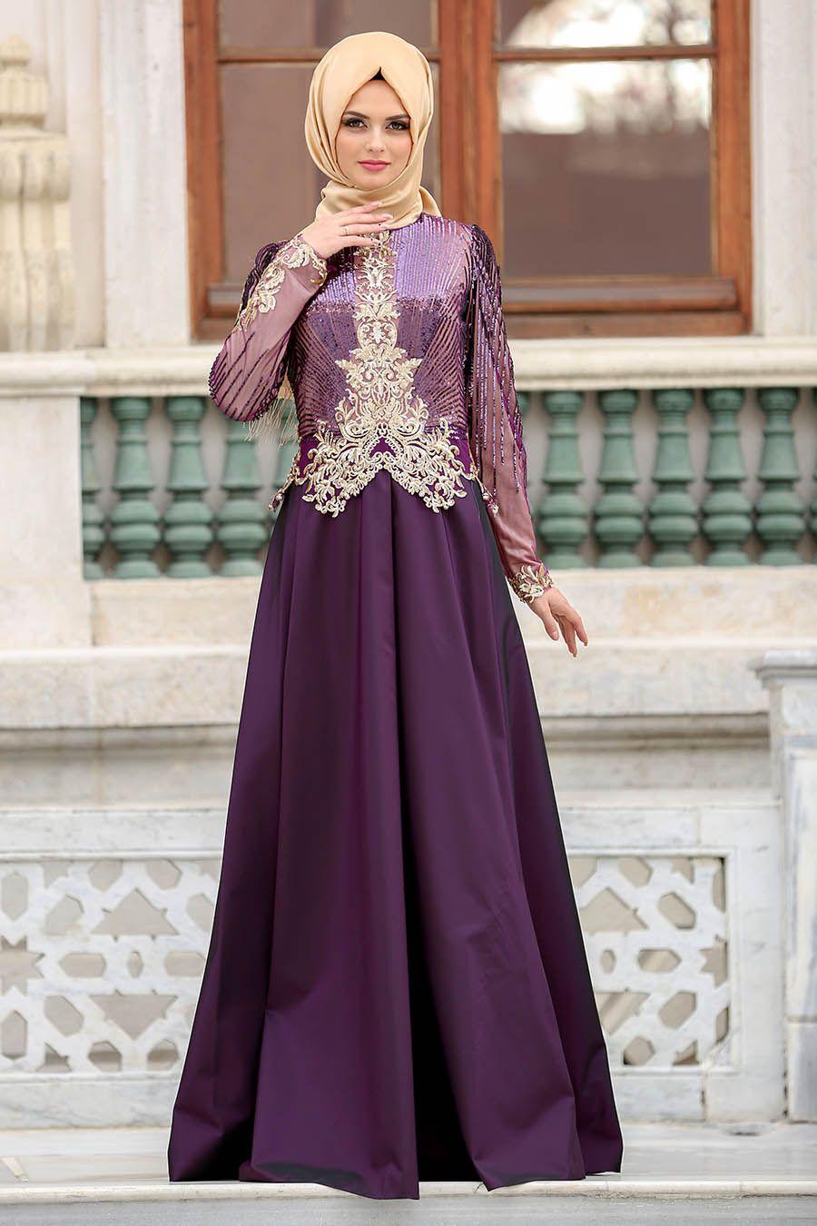 Tesetturlu Abiye Elbise Payet Detayli Mor Tesetturlu Abiye Elbise 100mor Tesetturisland Com Moda Stilleri Elbiseler Islami Moda