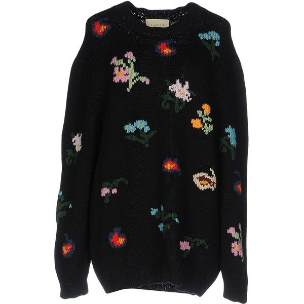 356fae84a Gucci Jumper (13.665.160 IDR) ❤ liked on Polyvore featuring tops, sweaters,  dark blue, long sleeve tops, wool jumper, long sleeve jumper, woolen sweater  ...