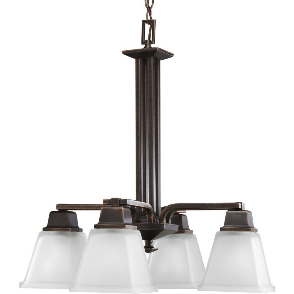 Modern Bronze Chandelier 284 85 Etched Glass Shades Four Lights