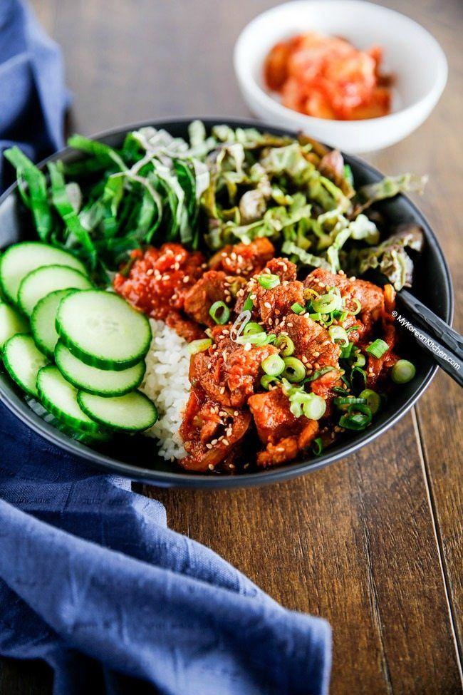 Spicy Pork Bulgogi Rice Bowl Recipe Spicy Pork Pork Dishes Asian Cooking
