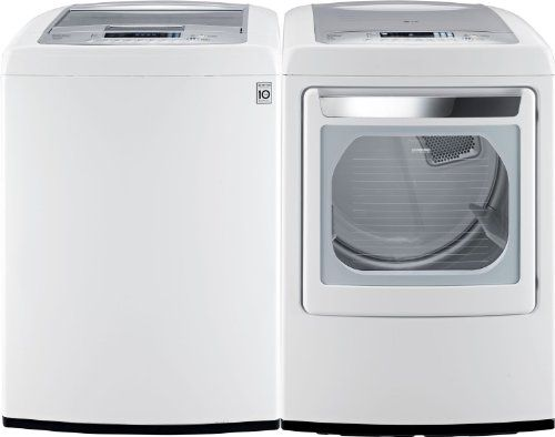 LG PAIR BUY-Front-Control Laundry Pair with WaveForce Technology (with ELECTRIC Dryer) WT1201CW DLEY1201W in Classic White *** Visit the image link more details.
