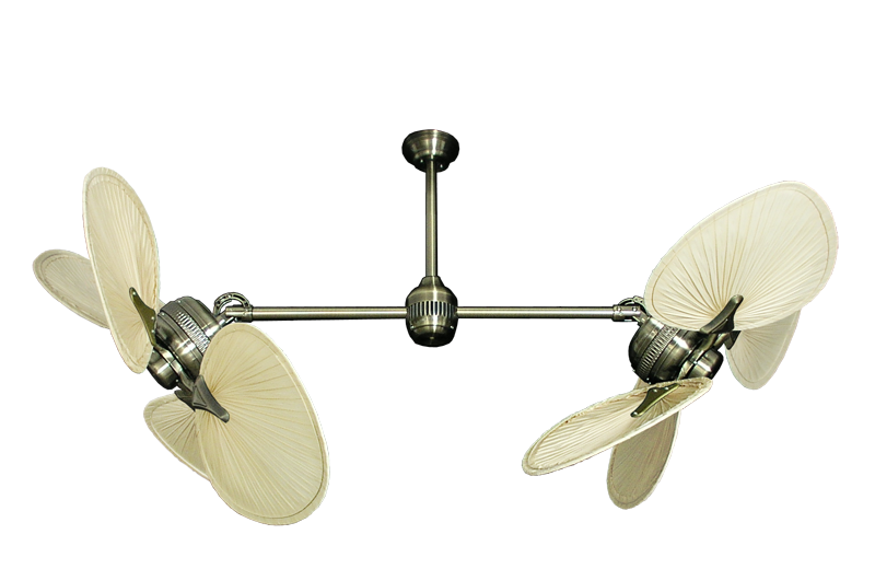 Twin Star Ii Antique Brass Dual Palm Ceiling Fan With 46 Natural