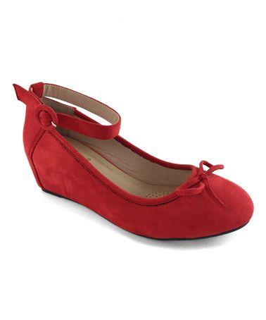 Look at this #zulilyfind! Red Ankle-Strap Mifzi Wedge #zulilyfinds