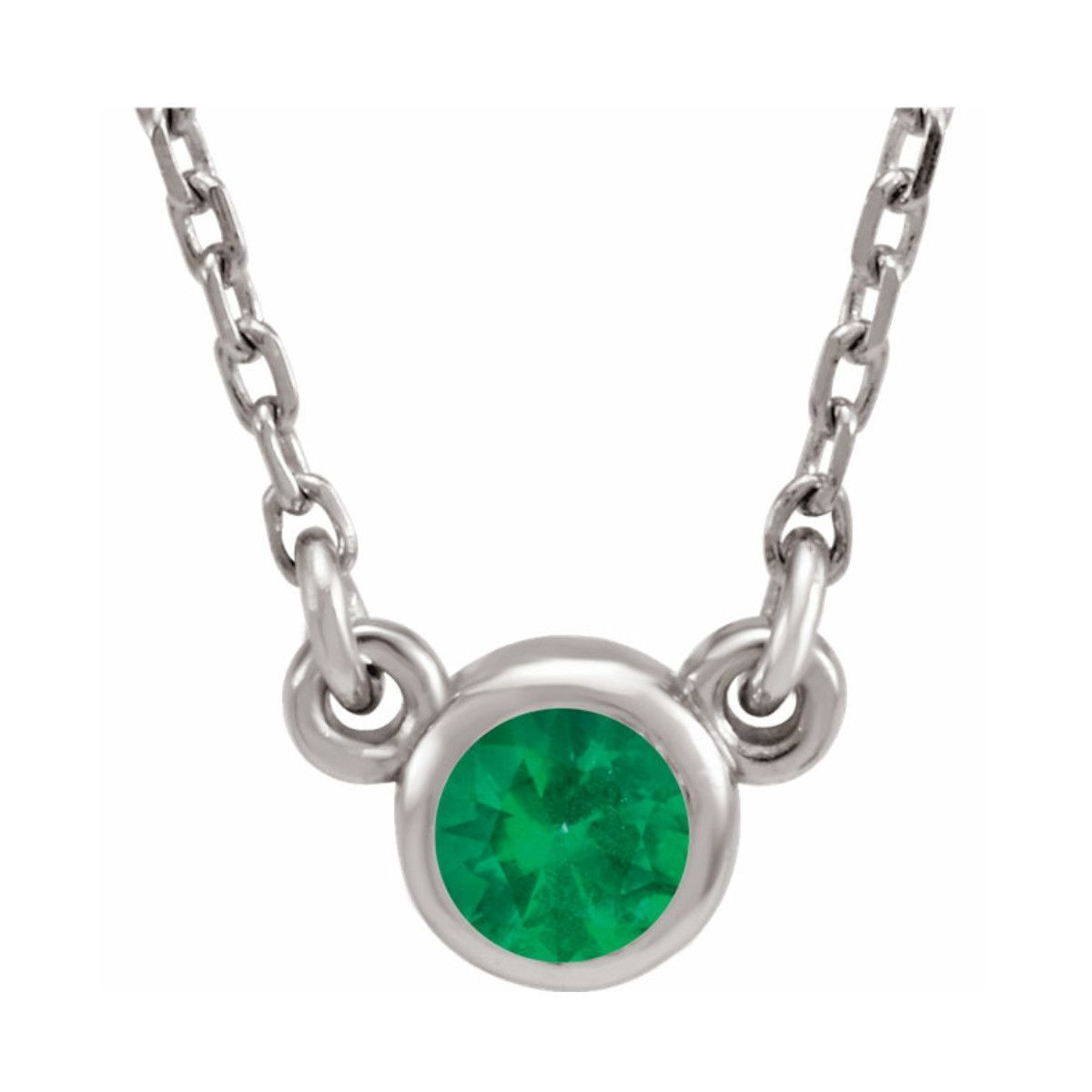 "Small Imitation Emerald Sterling Silver Bezel 16"" Necklace"