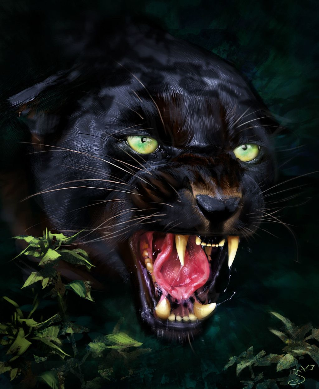 Jaguar, Predator, Black Animal, Muzzle, Art Wallpaper