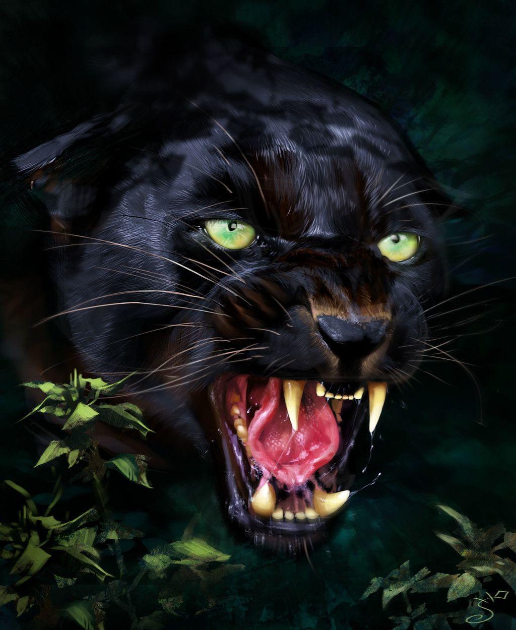 Jaguar, predator, black animal, muzzle, art wallpaper