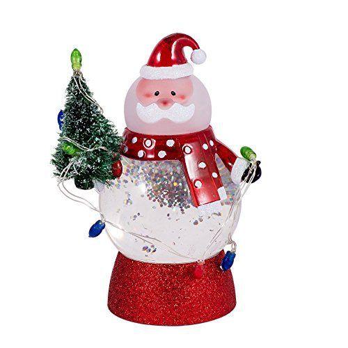 Led Light Up Swirl Santa Snow Globe With Wreath And Christmas Lights Santa Snow Globe Christmas Lights Snow Globes