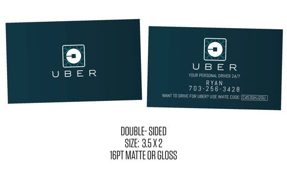 Uber Business Cards- Social Media- Cards- New Uber Logo Products