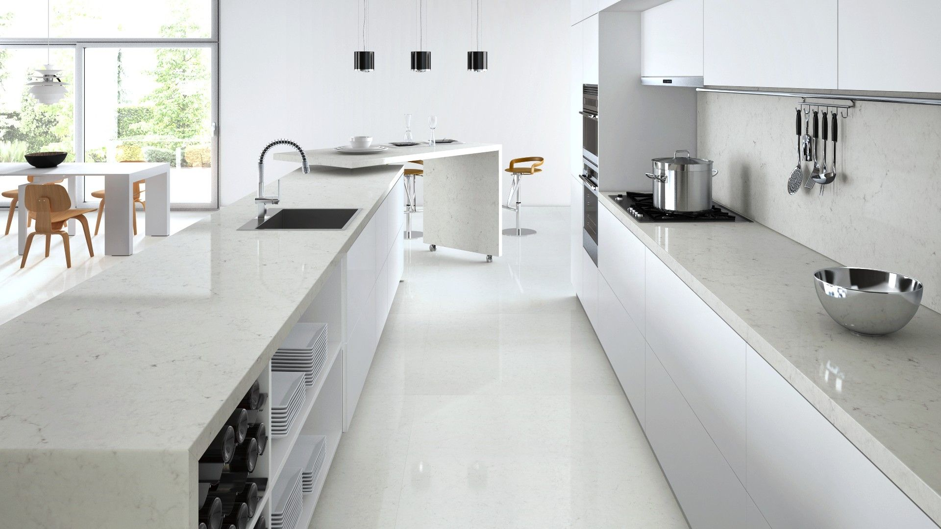 Grey Benchtop Kitchen Caesarstone Visualizer London Grey Benchtop And Splashback