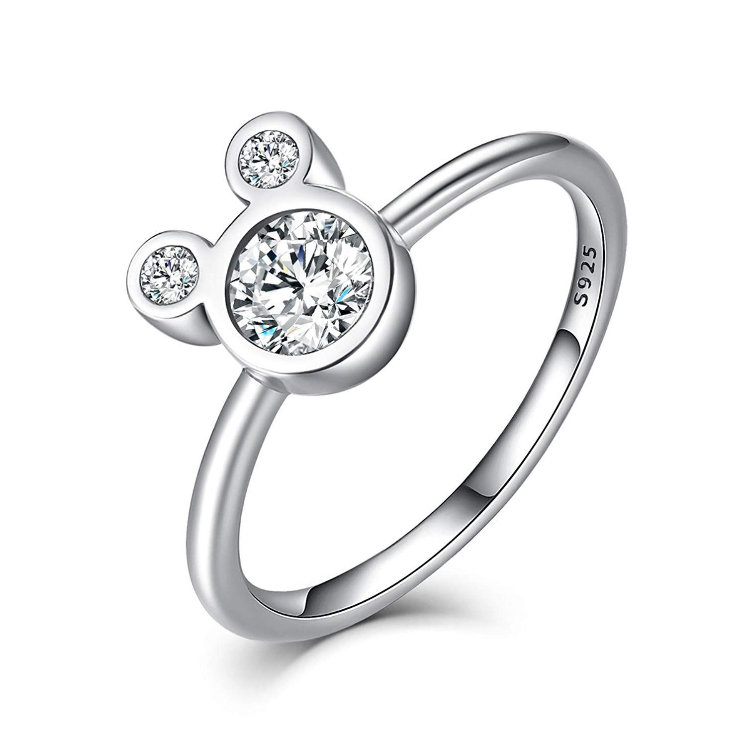 Bisaer Women S Mini Mouse Rings Sterling Silver Plated Cubic Zirconia Cartoon Mouse Silver Rings For Sterling Silver Rings Mouse Rings Sterling Silver Jewelry