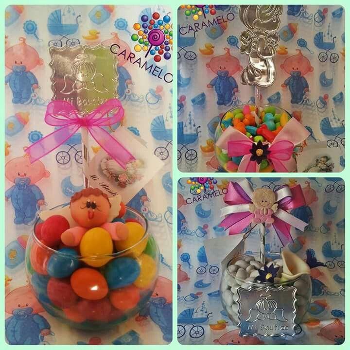 Recuerdos pecera con dulces para bautizo caramelo for Centros de mesa con peceras